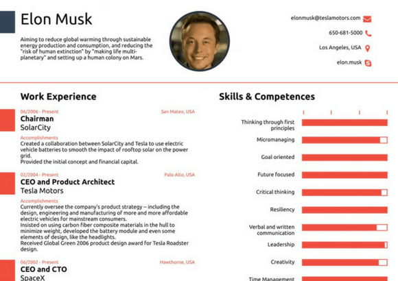 how to make a resume like elon musk